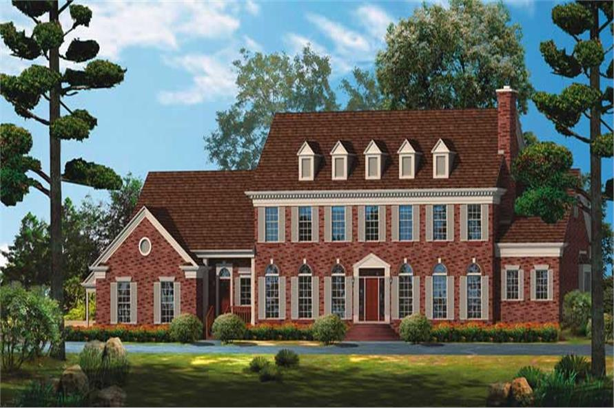 5-Bedroom, 4170 Sq Ft Colonial Home Plan - 137-1522 - Main Exterior