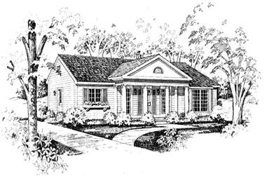 3-Bedroom, 1376 Sq Ft Colonial Home Plan - 137-1523 - Main Exterior