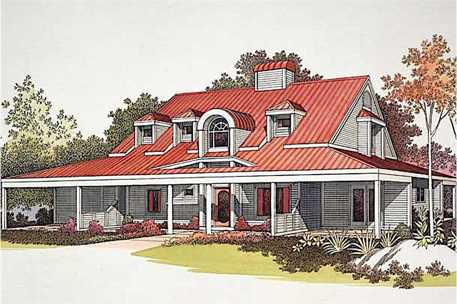 3-Bedroom, 2230 Sq Ft Country House Plan - 137-1527 - Front Exterior