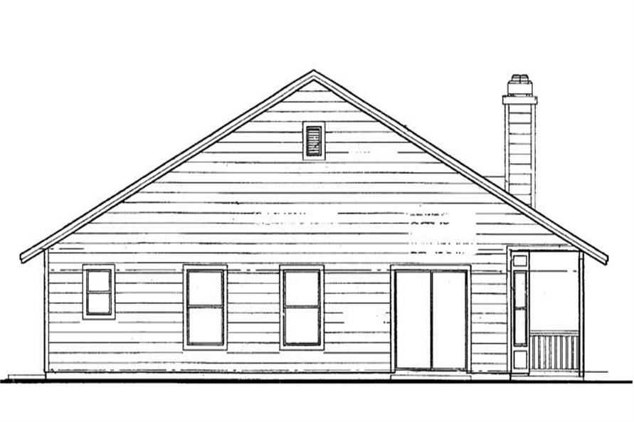 Home Plan Rear Elevation of this 3-Bedroom,1389 Sq Ft Plan -137-1532