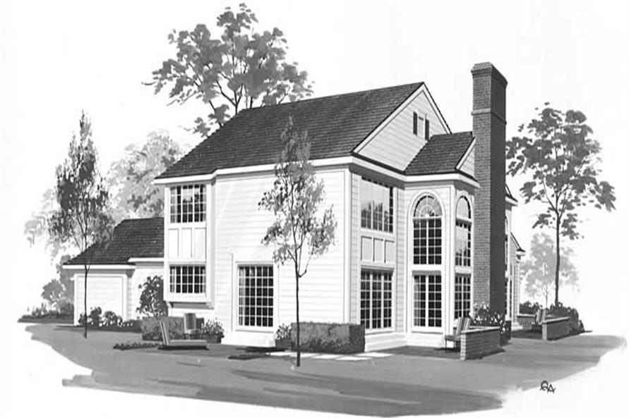 Home Plan Rear Elevation of this 2-Bedroom,1988 Sq Ft Plan -137-1536
