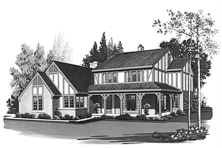 4-Bedroom, 2429 Sq Ft European House Plan - 137-1541 - Front Exterior