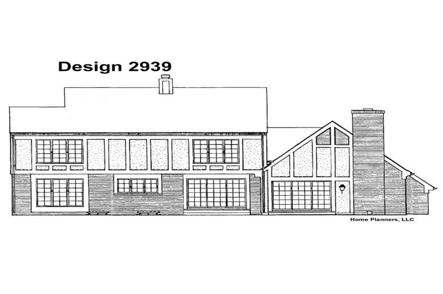Home Plan Rear Elevation of this 4-Bedroom,2429 Sq Ft Plan -137-1541