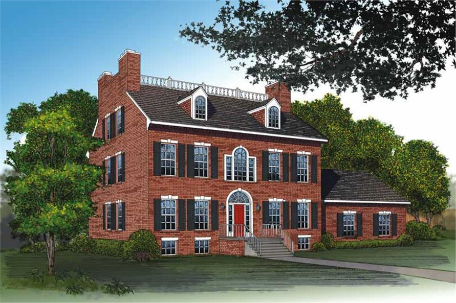 4-Bedroom, 3811 Sq Ft Colonial Home Plan - 137-1542 - Main Exterior