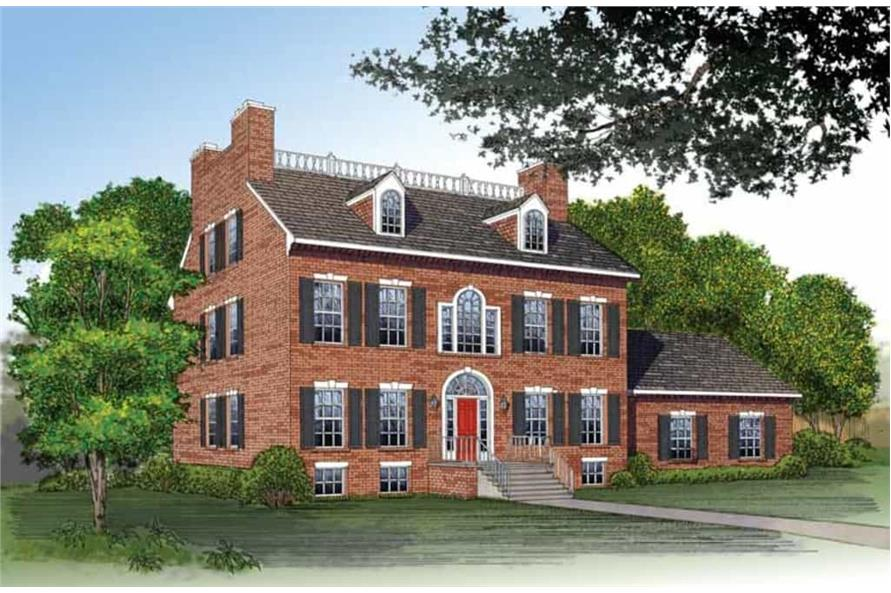 Front elevation of Colonial home (ThePlanCollection: House Plan #137-1542)