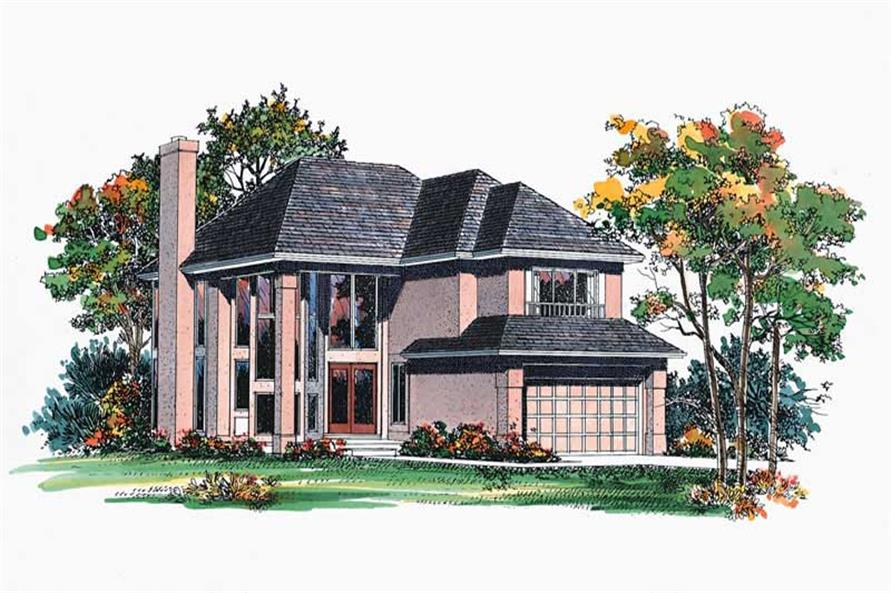 4-Bedroom, 2319 Sq Ft Contemporary House Plan - 137-1543 - Front Exterior