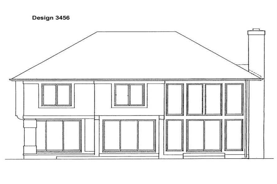 Home Plan Rear Elevation of this 4-Bedroom,2319 Sq Ft Plan -137-1543