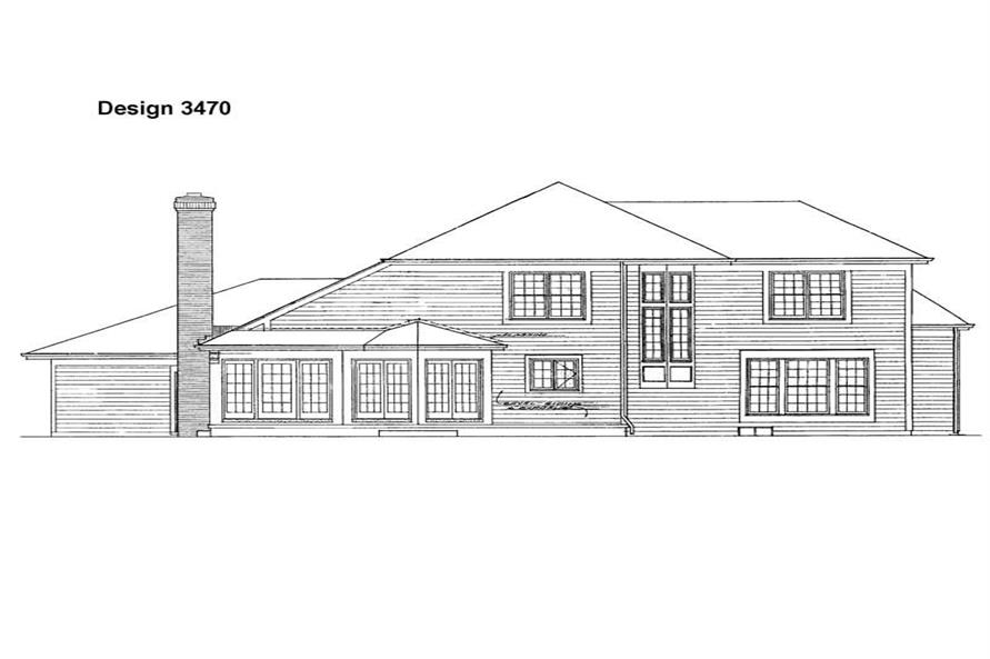 Home Plan Rear Elevation of this 3-Bedroom,2415 Sq Ft Plan -137-1546