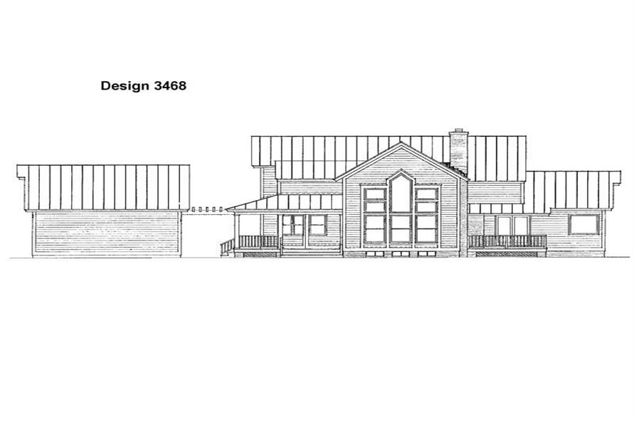 Home Plan Rear Elevation of this 3-Bedroom,2128 Sq Ft Plan -137-1547