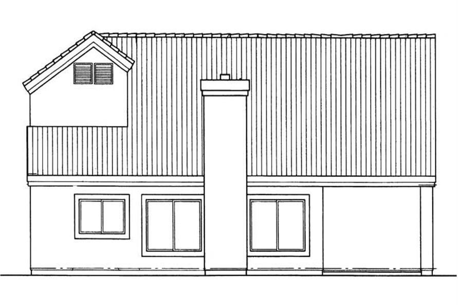 Home Plan Rear Elevation of this 3-Bedroom,1606 Sq Ft Plan -137-1555