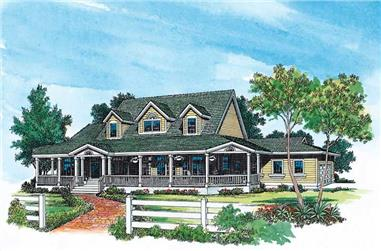 4-Bedroom, 3434 Sq Ft Country House Plan - 137-1556 - Front Exterior