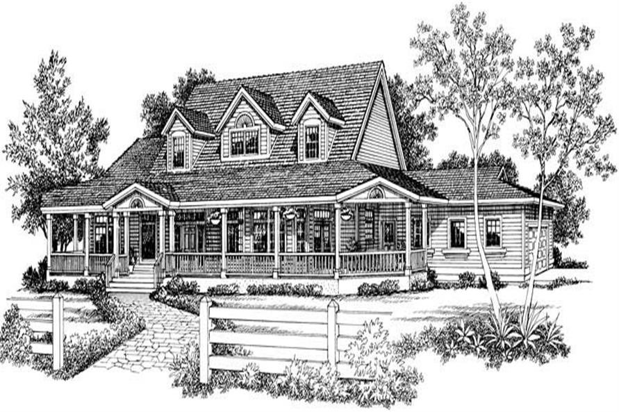 Home Plan Front Elevation of this 4-Bedroom,3434 Sq Ft Plan -137-1556