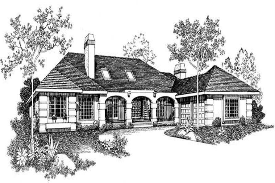 4-Bedroom, 3054 Sq Ft Mediterranean House Plan - 137-1565 - Front Exterior
