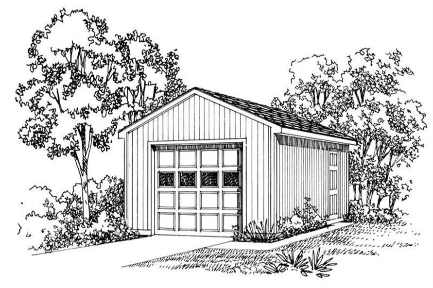 1-Bedroom, 384 Sq Ft Garage Home Plan - 137-1568 - Main Exterior