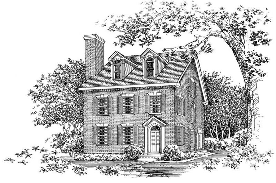 2-Bedroom, 2598 Sq Ft Colonial Home Plan - 137-1581 - Main Exterior