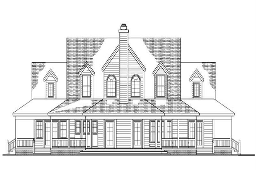 Home Plan Rear Elevation of this 4-Bedroom,2658 Sq Ft Plan -137-1588