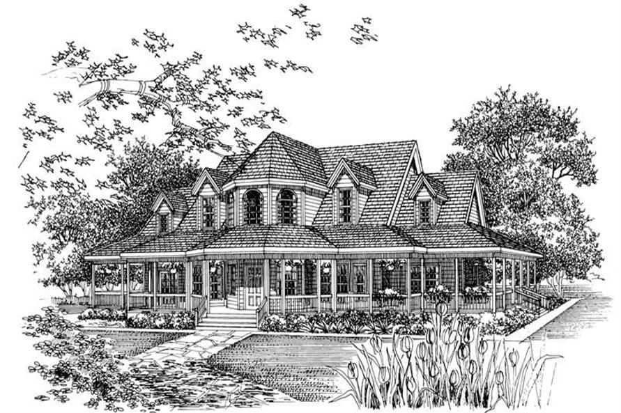 Home Plan Front Elevation of this 4-Bedroom,2658 Sq Ft Plan -137-1588