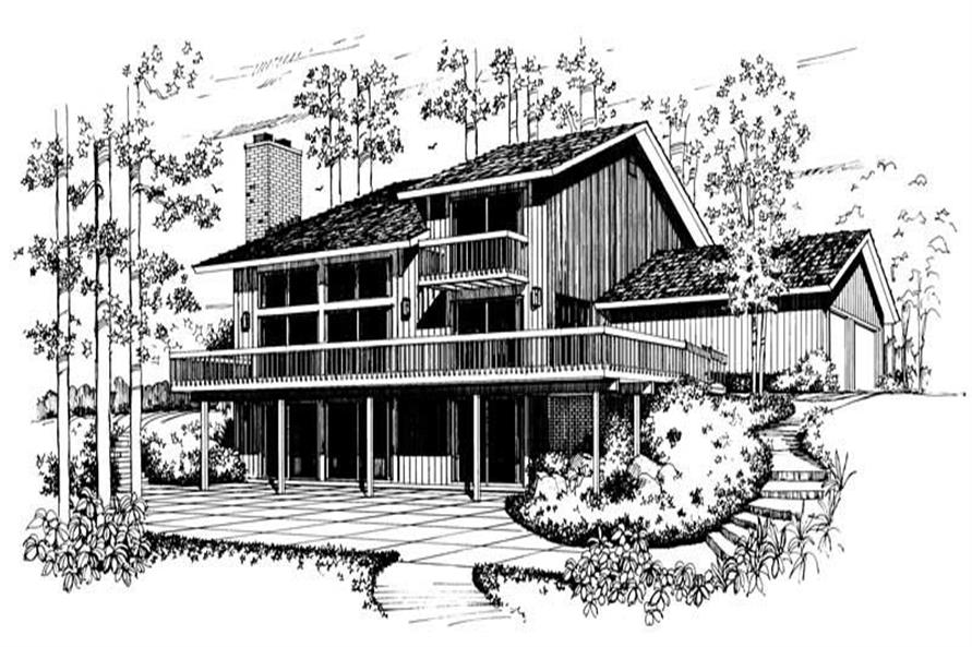 Home Plan Rear Elevation of this 2-Bedroom,2214 Sq Ft Plan -137-1589