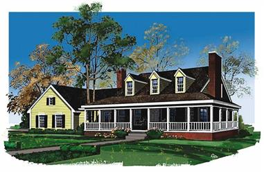 3-Bedroom, 2747 Sq Ft Country Home Plan - 137-1595 - Main Exterior