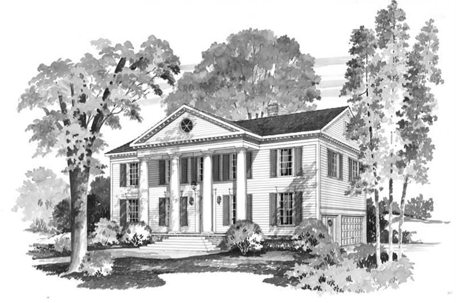 Front elevation of Colonial home (ThePlanCollection: House Plan #137-1597)