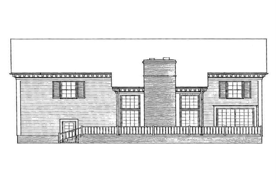 Home Plan Rear Elevation of this 4-Bedroom,3342 Sq Ft Plan -137-1597