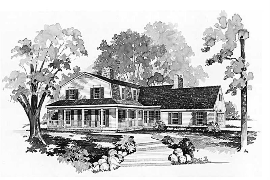 4-Bedroom, 2690 Sq Ft Country House Plan - 137-1599 - Front Exterior
