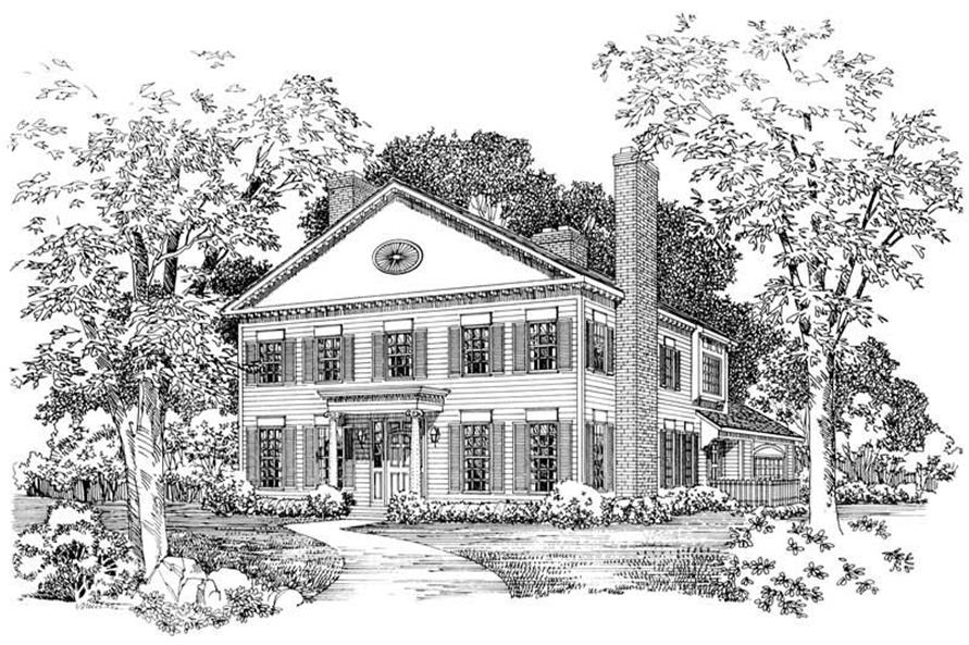 4-Bedroom, 2834 Sq Ft Colonial Home Plan - 137-1606 - Main Exterior