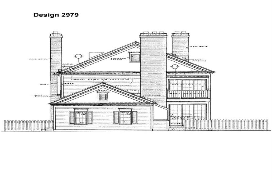 Home Plan Rear Elevation of this 4-Bedroom,2834 Sq Ft Plan -137-1606
