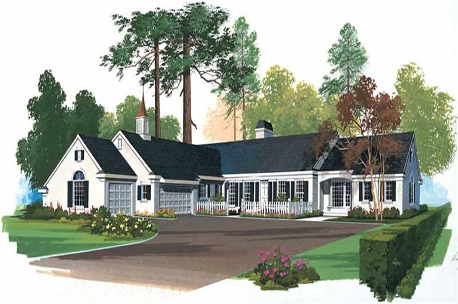 3-Bedroom, 3926 Sq Ft Country House Plan - 137-1612 - Front Exterior
