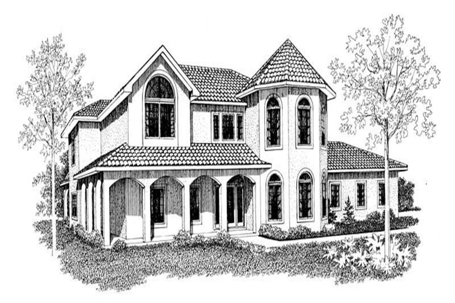 4-Bedroom, 2688 Sq Ft Mediterranean House Plan - 137-1613 - Front Exterior