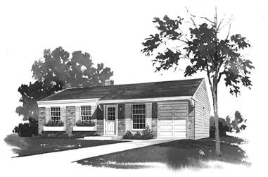 3-Bedroom, 1032 Sq Ft Ranch House Plan - 137-1614 - Front Exterior
