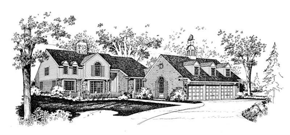 Colonial home (ThePlanCollection: Plan #137-1615)