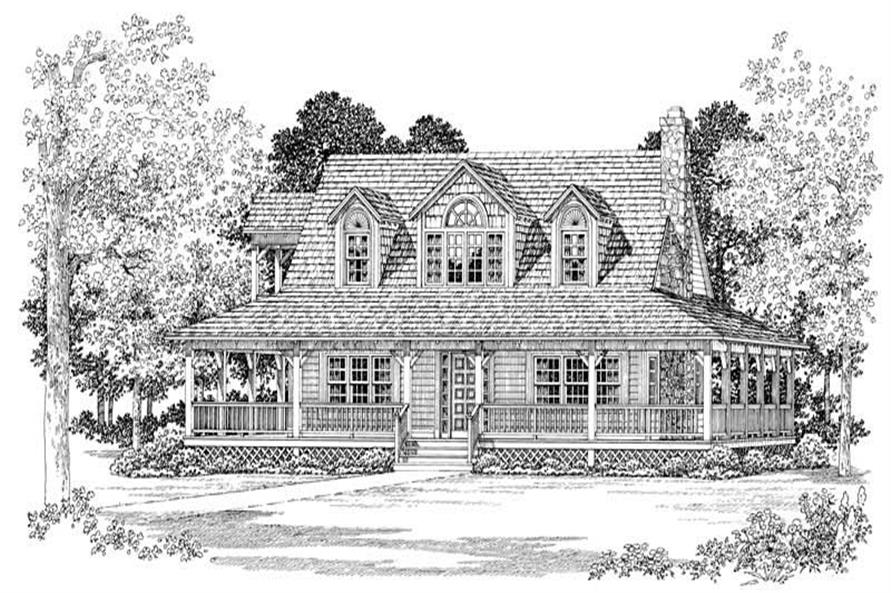Home Plan Front Elevation of this 3-Bedroom,1669 Sq Ft Plan -137-1618