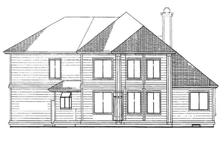 Home Plan Rear Elevation of this 3-Bedroom,2419 Sq Ft Plan -137-1625