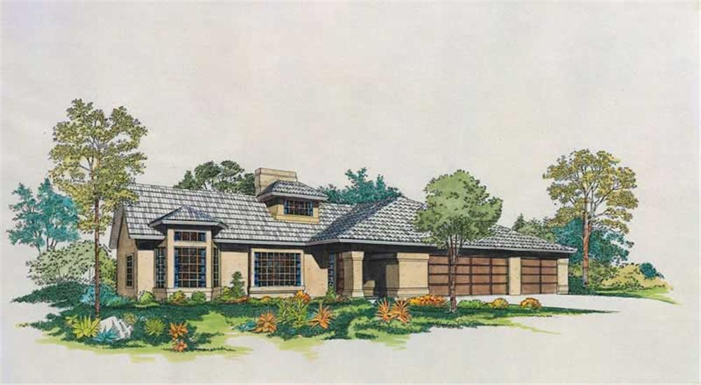Front elevation of Mediterranean home (ThePlanCollection: House Plan #137-1634)