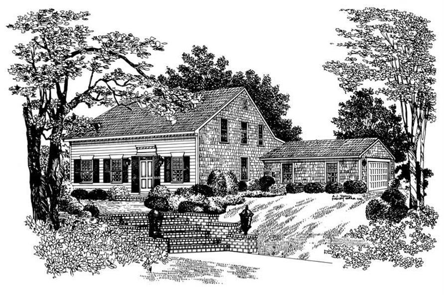3-Bedroom, 1958 Sq Ft Cape Cod House Plan - 137-1646 - Front Exterior