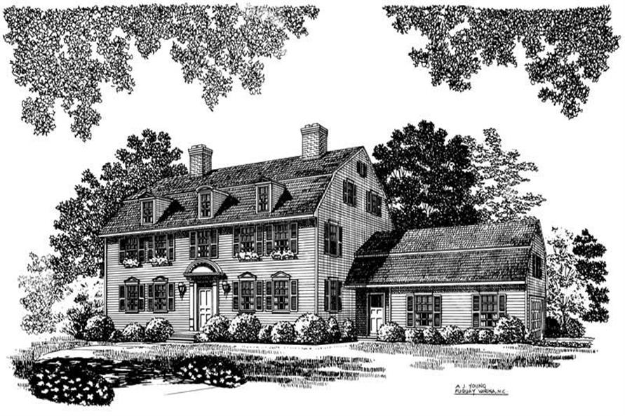 3-Bedroom, 3147 Sq Ft Colonial Home Plan - 137-1650 - Main Exterior
