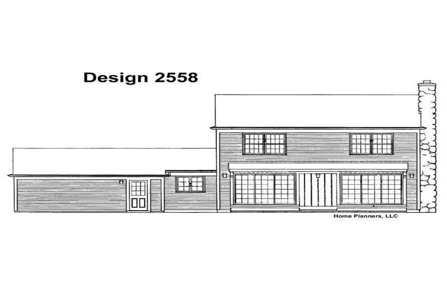 Home Plan Rear Elevation of this 2-Bedroom,1870 Sq Ft Plan -137-1652