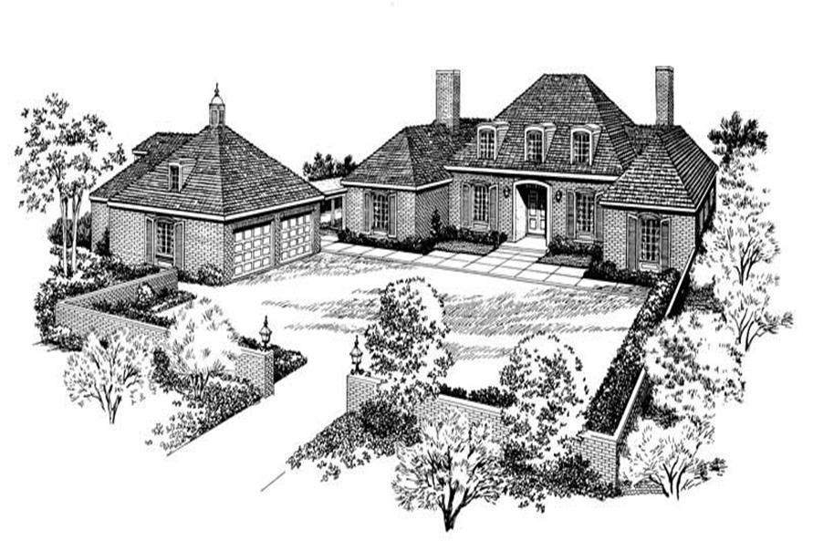 4-Bedroom, 3498 Sq Ft European House Plan - 137-1653 - Front Exterior