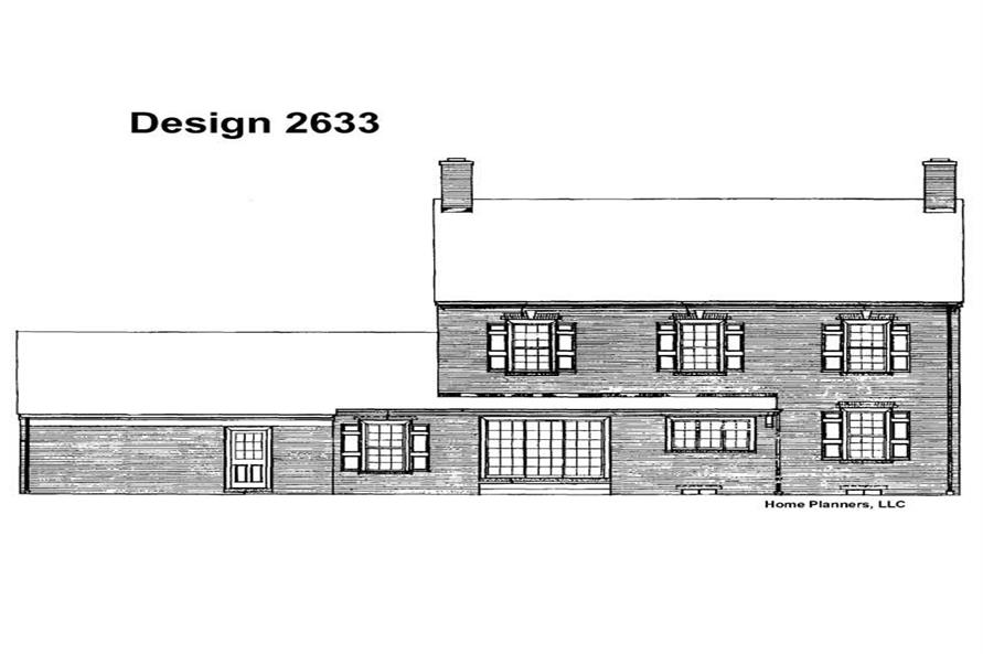 Home Plan Rear Elevation of this 4-Bedroom,3044 Sq Ft Plan -137-1657