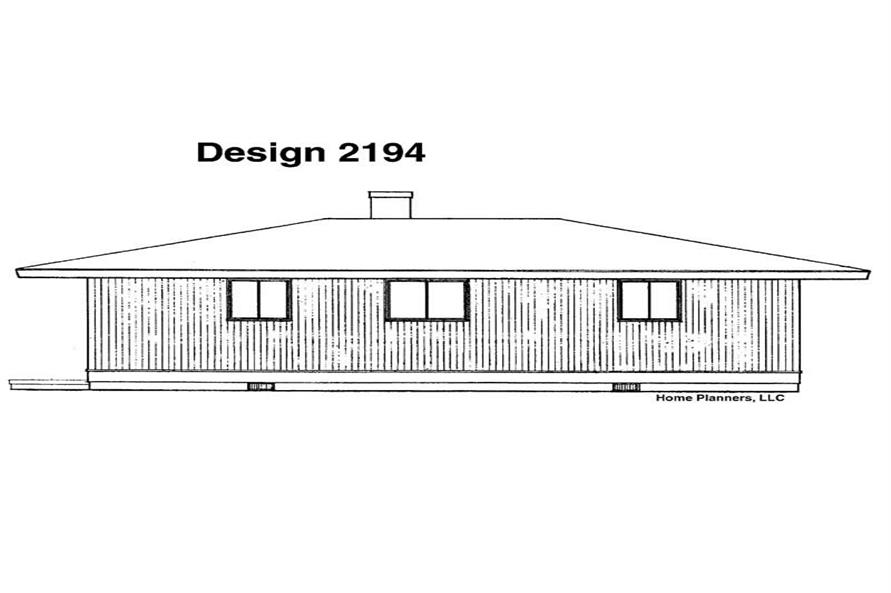 Home Plan Rear Elevation of this 3-Bedroom,882 Sq Ft Plan -137-1660