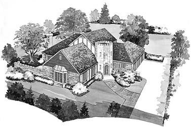 5-Bedroom, 3454 Sq Ft European House Plan - 137-1664 - Front Exterior