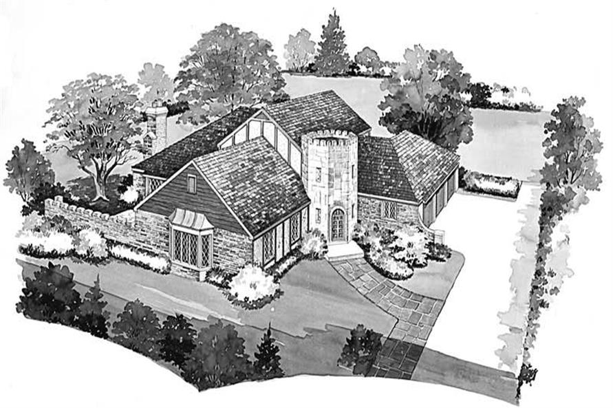 5-Bedroom, 3454 Sq Ft European House Plan - 137-1664 - Front Exterior