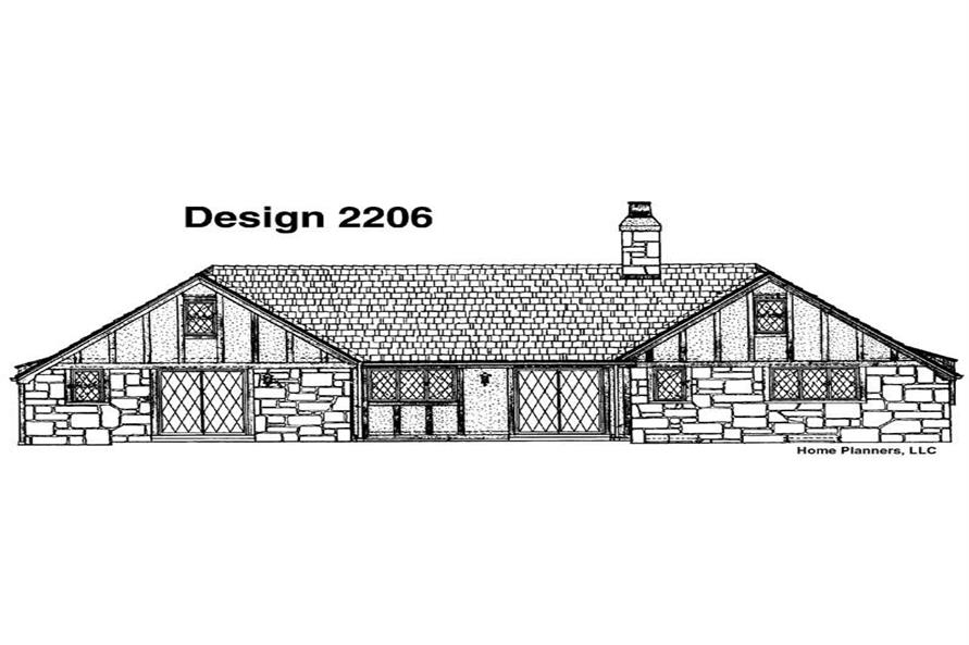 Home Plan Rear Elevation of this 3-Bedroom,1769 Sq Ft Plan -137-1665
