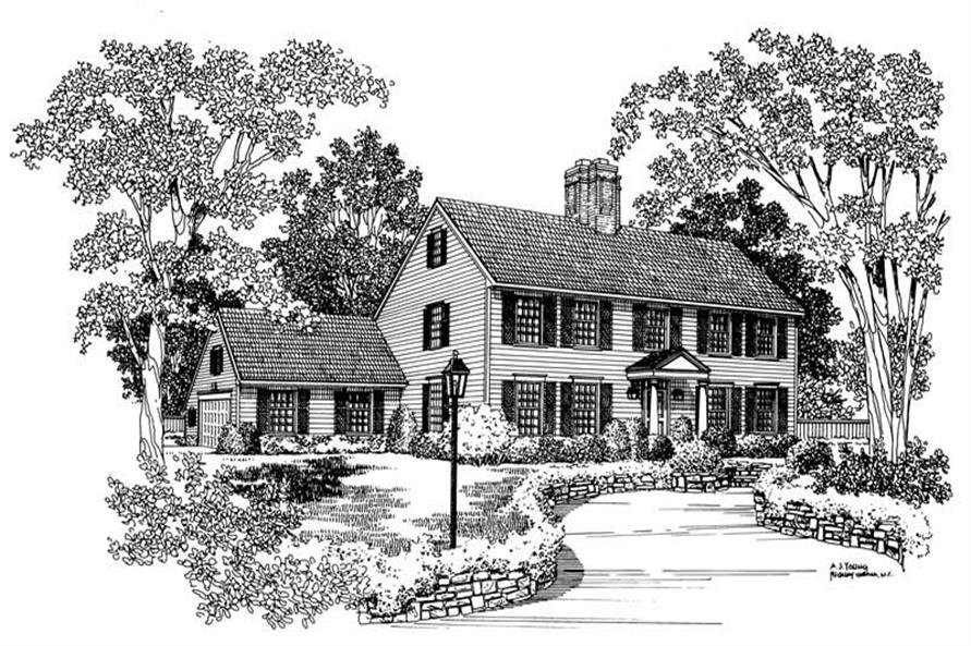 4-Bedroom, 3672 Sq Ft Colonial Home Plan - 137-1668 - Main Exterior