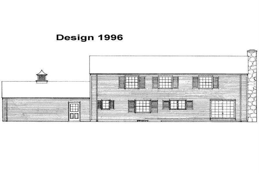 Home Plan Rear Elevation of this 4-Bedroom,2096 Sq Ft Plan -137-1672
