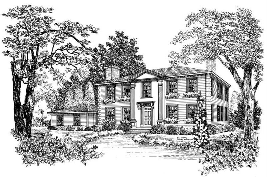 4-Bedroom, 3460 Sq Ft Colonial House Plan - 137-1679 - Front Exterior