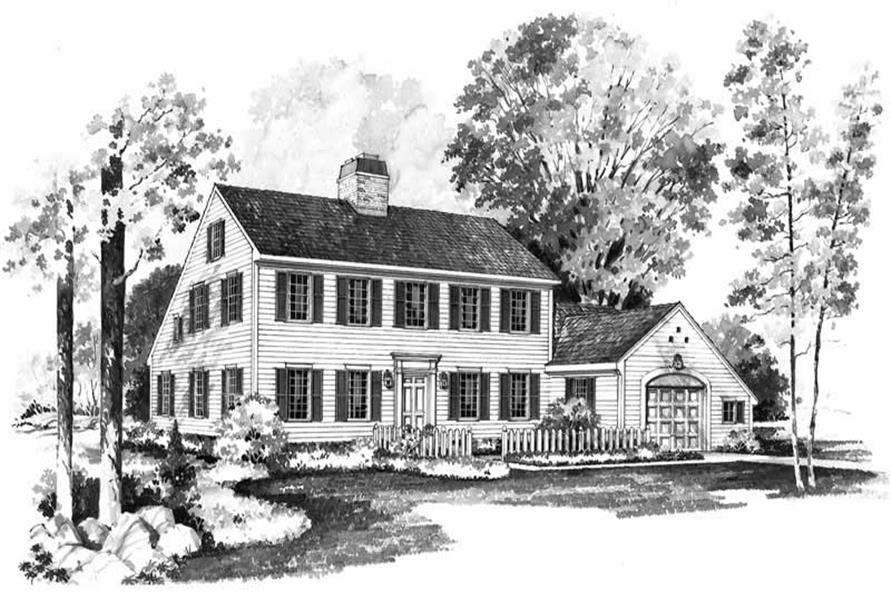 3-Bedroom, 1996 Sq Ft Colonial Home Plan - 137-1684 - Main Exterior