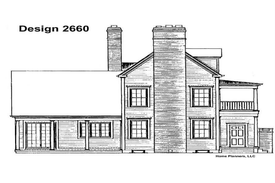 Home Plan Rear Elevation of this 5-Bedroom,3892 Sq Ft Plan -137-1687