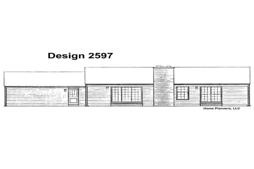 Home Plan Rear Elevation of this 3-Bedroom,1515 Sq Ft Plan -137-1689